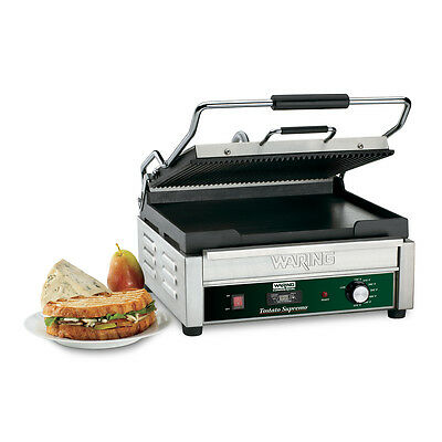 "Waring WDG250T 14.5""x11"" Panini Grill Ribbed Top & Flat Bottom w/ Timer"