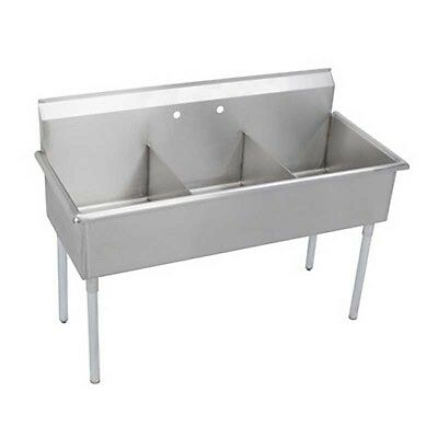 "Elkay Foodservice 3 Compartment Utility Sink 12"" x 21"" x 12"" Bowls 18/300 S/s"