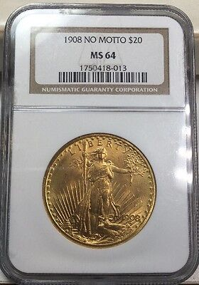 1908 No Motto G$20 Saint-Gaudens Gold Double Eagle MS64 NGC MS 64 Uncirculated