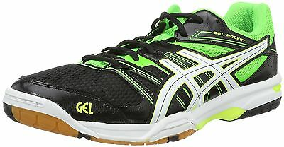 Asics Men's Gel-Rocket 7 Volleyball Shoes Black (Black/Green Gecko/White)... New