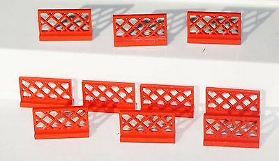 Genuine Lego RED Lot of 10 Standard Original Fence 1x4x2 3185
