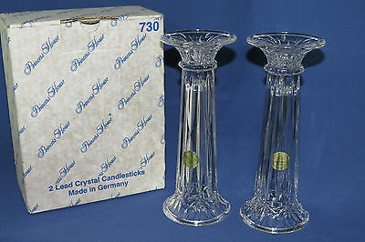 Pair of Princess House Lead Crystal Highlights Candlesticks Vases Germany