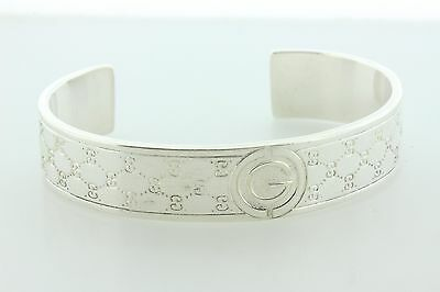 Gucci Made In Italy Sterling Silver 925 'G' Logo Quilt Pattern Cuff Bracelet