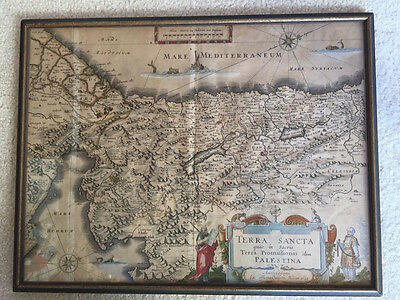 Antique Map of Holy Land Judaica Israel Palestine by William Blaeu  Framed