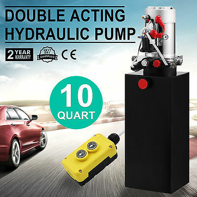 10 Quart Double Acting Hydraulic Pump Dump Trailer 12V Metal Reservoir Tool