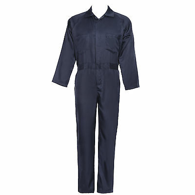 AU Mens Long Sleeve Cotton Drill Overall Coverall Workwear Boiler Suit Navy Blue