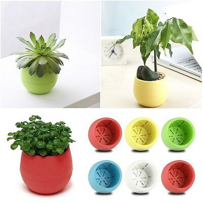 Fancy Round Plastic Flower Pot Plant Planter Garden Home Office Decor