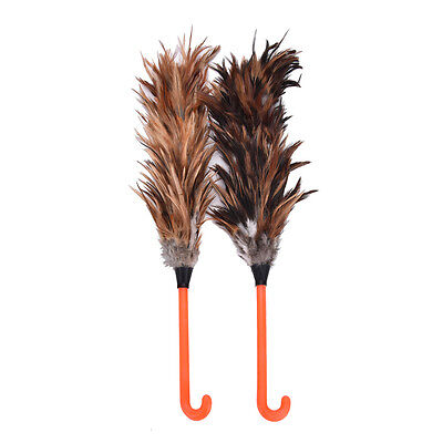 NEW Feather Fur Brush Duster Dust Cleaning Tool Plastic Hooked Handle 45cm BDAU