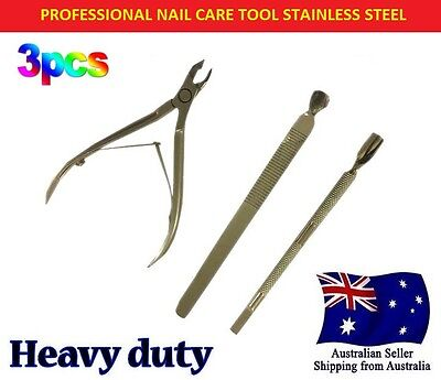 3Pcs Set Nail Cuticle Nipper Tool Spoon Pusher Remover Cutter Clipper Trimmer