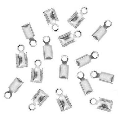 W6 50-Piece Fold Over Cord Hook 3mm,Silver