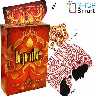 Ellusionist Ignite Bicycle Playing Cards Deck Fire Red Magic Tricks Uspcc New