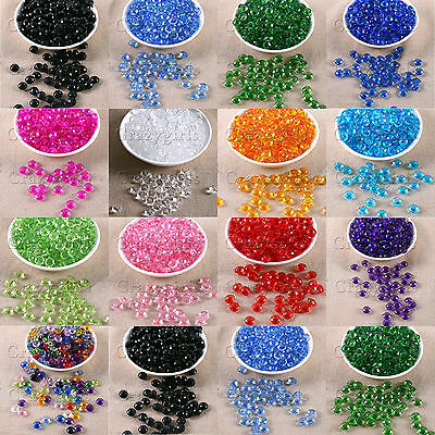 100pcs Round Faceted Round Acrylic Plastic Spacer Beads Bracelet Jewelry 10mm S