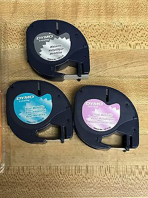 3 Dymo Variety Metallic Refill LetraTag Tapes ,Metallic,Pink,Blue, used,90% left