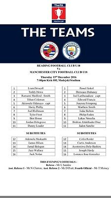 Reading V Manchester City FA Youth Cup Official Teamsheet December 2016