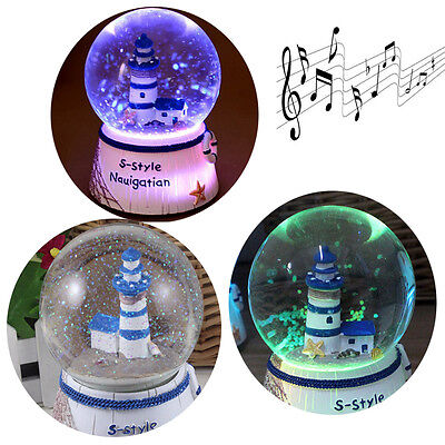 AU Musical Snow Globe Family House Tower Glitter Water Ball Music Box Gift Toys