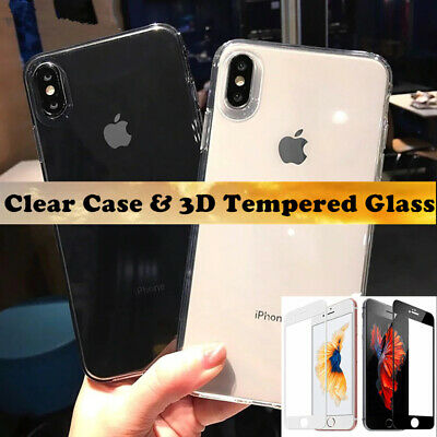 TPU Gel Case Cover + 3D Full Curve Tempered Glass For Apple iPhone 8 7 6 Plus X