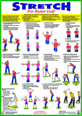 Golf Poster Golf Warm Up exercise Training Chart