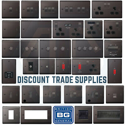 BG Nexus Metal Black Nickel Switches & Sockets Full Range Free P&P