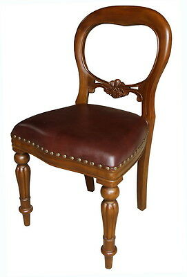 Solid Mahogany Dutch Dining Chair with GREEN Leather Balloon Back CHR027G