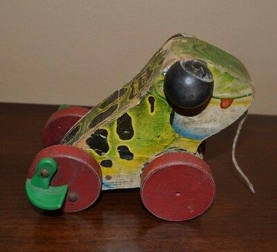 1954 Vintage Fisher Price Jolly Jumper Frog Pull Toy #450