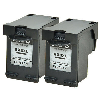 2PK 63-XL 63XL Black Ink Cartridge F6U64A Fit For HP DeskJet 1110 3630 3631 2130