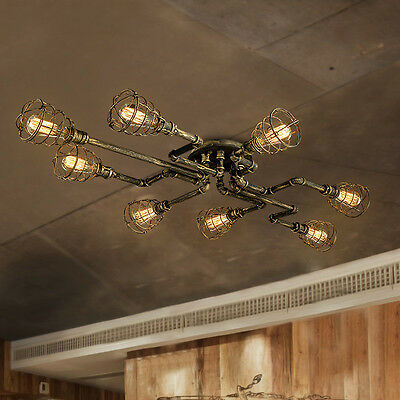 Industrial Antique Metal Cage Semi Flush Ceiling Chandelier Light Steampunk Lamp