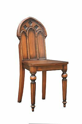 Solid Mahogany Gothic Chair with Fluted Legs Antique Reproduction CHR099