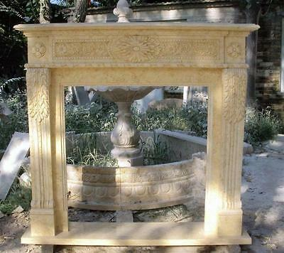 Marble Fireplace Mantel Surround, Floral Carvings, Egypt Beige Marble