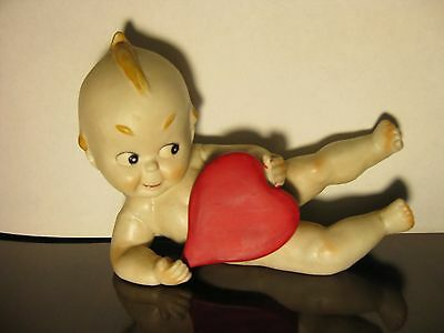 """Rare Vintage Bisque KEWPIE Doll Figurine with Big Heart, 3 3/4"""" tall, 5"""" long"""