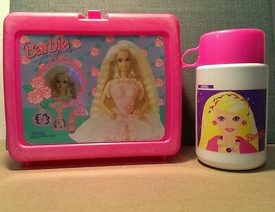 vintage plastic Barbie lunch box with thermos