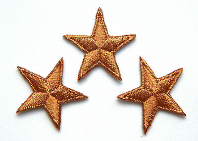 """Brown star patches > pack of 3 > embroidered > iron-on > 1"""" (25mm) hand finished"""