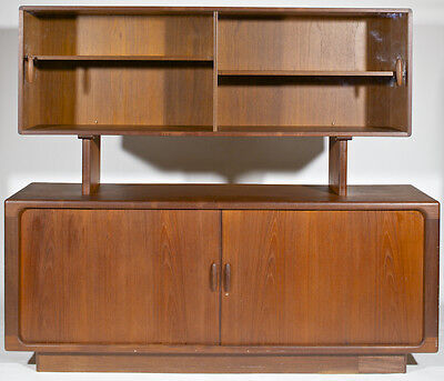 Mid-century modern Danish teak credenza and display top by Dyrlund