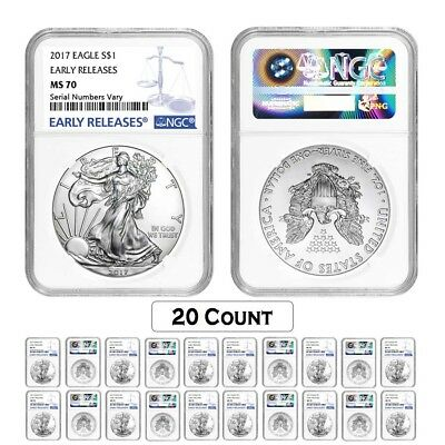 Lot of 20 - 2017 1 oz Silver American Eagle $1 Coin NGC MS 70 Early Releases