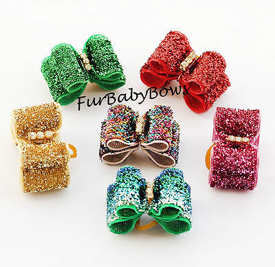 30 Crystal colorful Glitter Velvet show Yorkie Puppy dog Pet Bow Shihtzu
