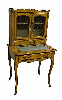 Distressed French Provincial Style Painted Solid Cherry Ladies Desk w Bookcase