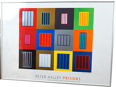 "Original Offsetdruck Peter Halley / USA "" Prisons"" handsigniert; Galerierahmung"