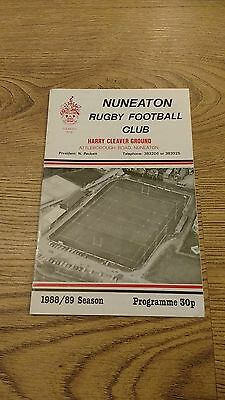 Nuneaton v West Hartlepool 1988 Rugby Union Programme