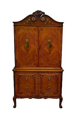 Adams French Style Satinwood Inlaid Painted Chest  China Liquor Cabinet Armoire