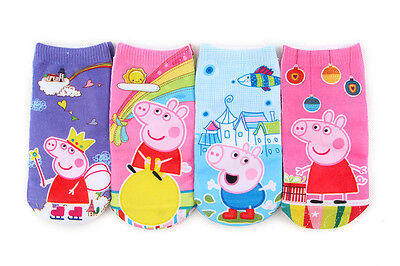 4 Pairs 3D Stamp Boat Socks Boys Girls Cartton Peppa Pig George Sock 1-9 Years