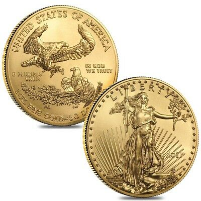 Lot of 2 - 2017 1 oz Gold American Eagle $50 Coin BU