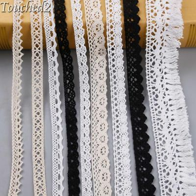 5Y Black Cotton Ribbon Lace Apparel Sewing Trimming Vintage Embroidered Craft