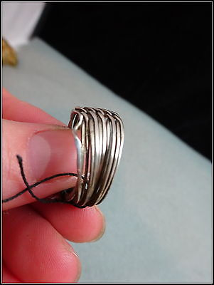 Vtg Tribal North African Silver Puzzle Stacking Ring II
