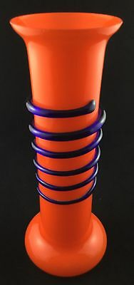 Vintage Bohemian Orange Blue Loetz Tango Spiral Art Glass Vase Powolny Art Deco