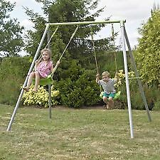 TP childs metal double swing set used in slough