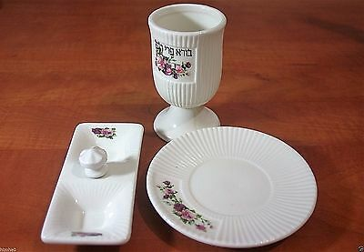 Set Of Cup White Kidush Wine Shabat Porcelain Judaica Jewish Plate Goblet
