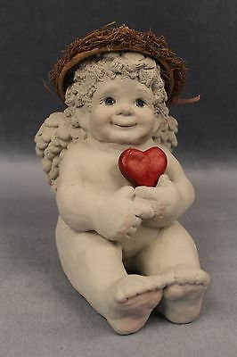 1991 Art Cast Industries, Large Cherub Angel Dreamsicles w/ Red Heart