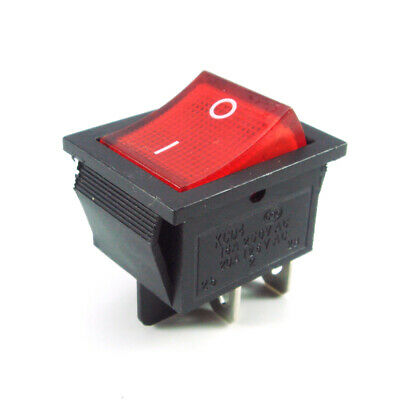 2x Square Rocker Switch Red LED 4-Pin DPST On/Off Snap-In 15A/250V 20A/125V AC