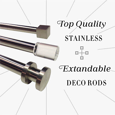 TOP QUALITY STAINLESS Curtain Rod & Finial Set, Extendable from 120cm - 380cm