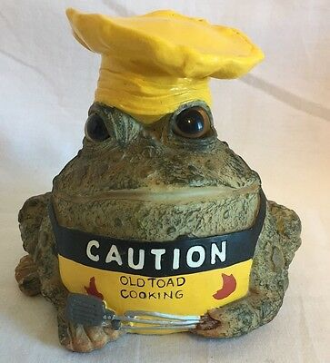 1999 Toad Hollow, Caution Old Toad Cooking Figurine