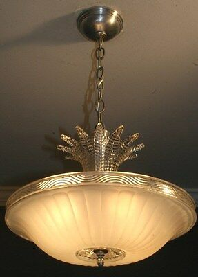 Antique cream glass art deco light fixture ceiling chandelier original 1940s